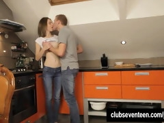 Skinny teen Edita gets ass fucked in kitchen